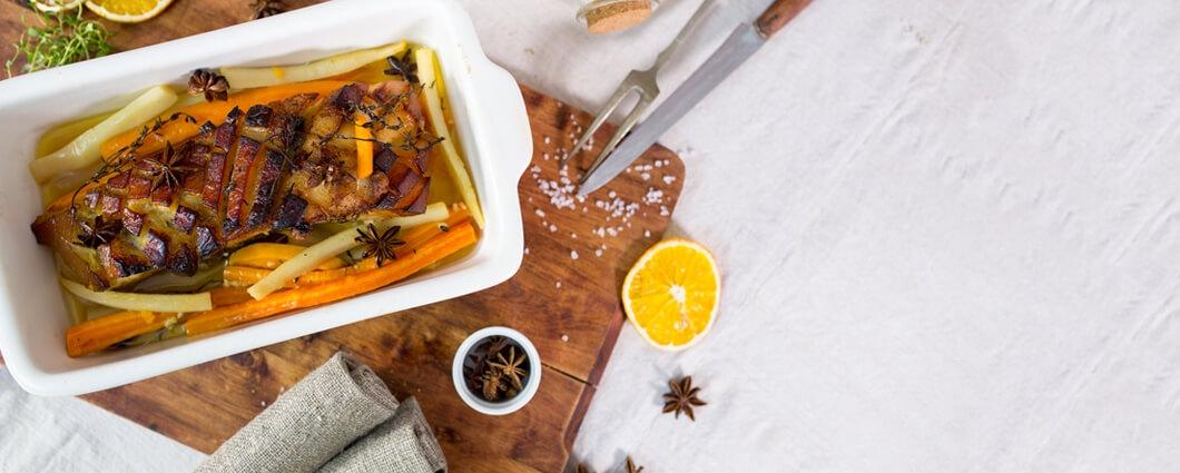Voňavý bôčik s medom a pomarančmi