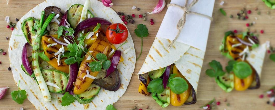 Grilovaná tortilla pre vegetariánov