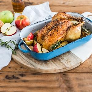 Pečené kura s jablkami a so ciderom