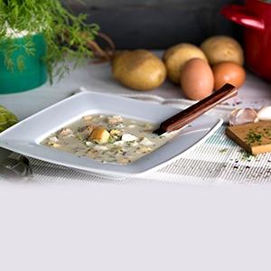 Kyslá polievka z pečených zemiakov s kôprom
